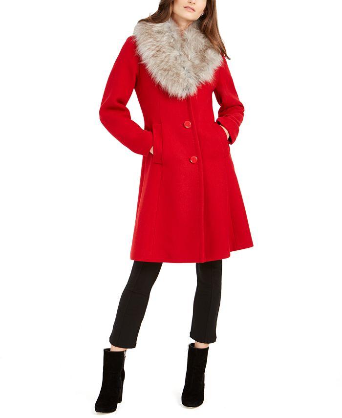 kate spade new york - Faux-Fur-Trim Walker Coat