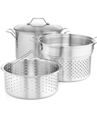 CLOSEOUT! Simply Calphalon Stainless Steel 8 Qt. Covered Multi-Pot with Strainer & Steamer Inserts
