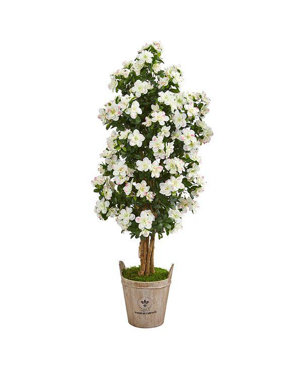 "Nearly Natural 59"" Azalea Artificial Tree in Farmhouse Planter"