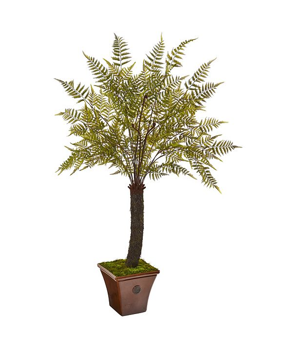 Nearly Natural 6' Fern Artificial Plant in Brown Planter