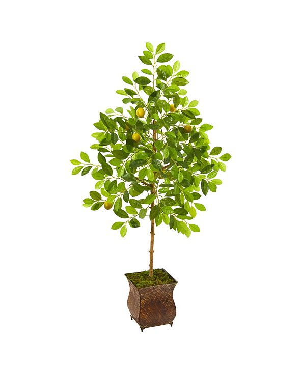 """Nearly Natural 54"""" Lemon Artificial Tree in Decorative Planter"""