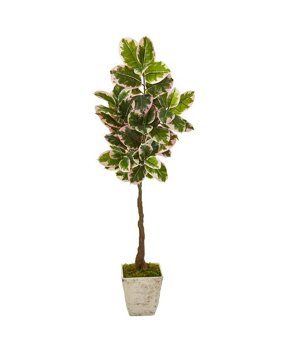 """Nearly Natural 69"""" Variegated Rubber Leaf Artificial Tree in Country White Planter Real Touch"""