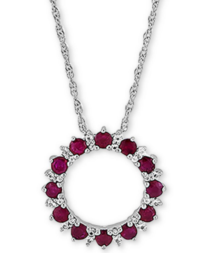 """Macy's - Certified Ruby (1-1/5 ct. t.w.) & White Topaz (1/10 ct. t.w.) Circle 18"""" Pendant Necklace in Sterling Silver"""