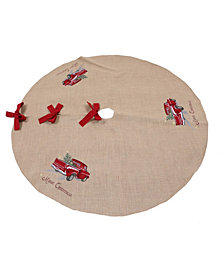 "Manor Luxe Merry Christmas Truck Embroidered Tree Skirt 56"" Round"