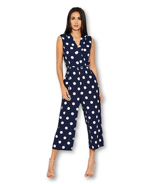 AX Paris Women's Polka Dot Culotte Jumpsuit