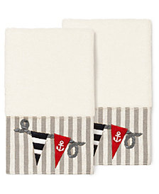 Linum Home 100% Turkish Cotton Ethan 2-Pc. Embellished Hand Towel Set