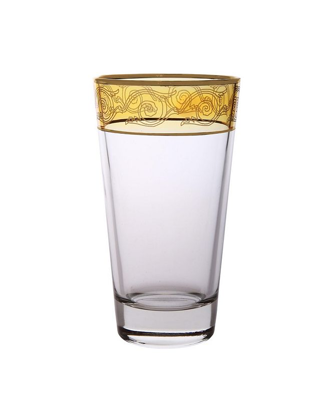 Classic Touch Set of 6 Amber Tumblers with Gold-tone Design