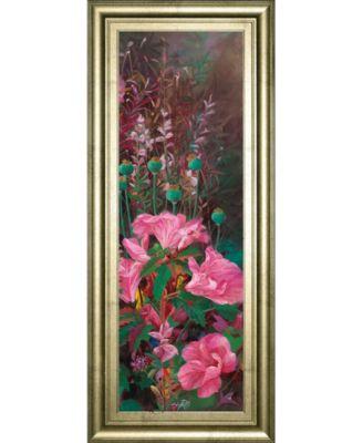 """Pink Azalea Garden Il by Li Bo Framed Print Wall Art - 18"""" x 42"""""""
