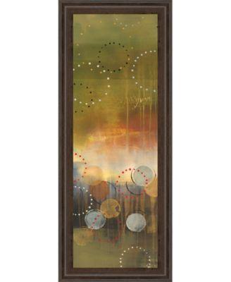 "Circles in Green Panel I by Jeni Lee Framed Print Wall Art - 18"" x 42"""
