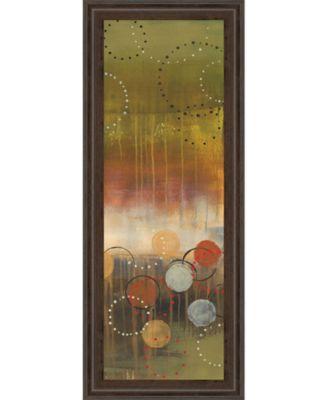 "Circles in Green Panel Il by Jeni Lee Framed Print Wall Art - 18"" x 42"""