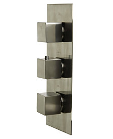 ALFI brand Brushed Nickel Concealed 4-Way Thermostatic Valve Shower Mixer with Square Knobs