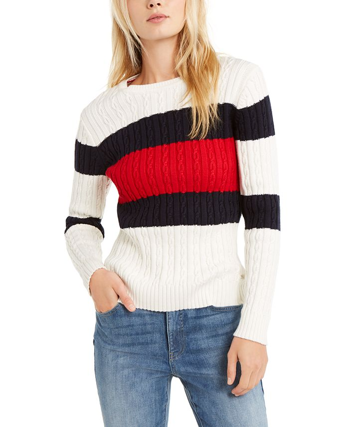 Tommy Hilfiger - Flag Colorblocked Cotton Cable-Knit Sweater
