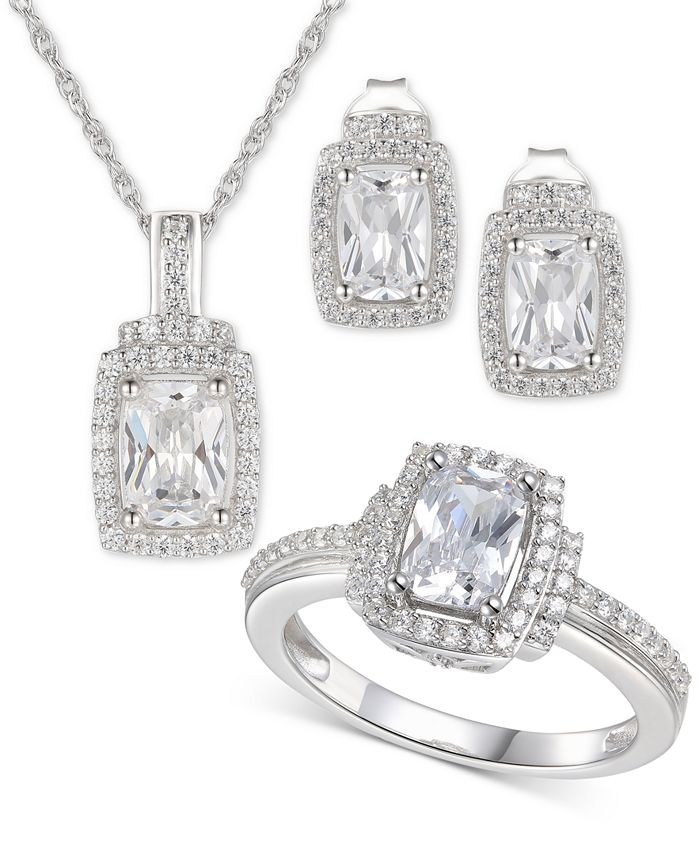Macy's - 3-Pc. Set Cubic Zirconia Halo Pendant Necklace, Drop Earrings and Ring in Sterling Silver
