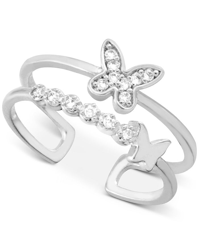 Essentials - Crystal Butterfly Two-Row Toe Ring in Fine Silver-Plate