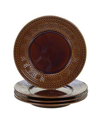 Certified International Aztec Brown 4-Pc. Dinner Plates
