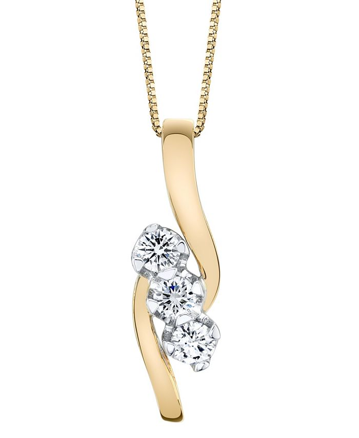 Sirena - 3/8 ct. t.w. Diamond Pendant in 14k Yellow and White Gold