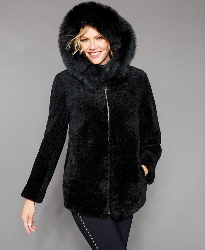The Fur Vault - Shearling Lamb Fox-Fur-Trim Hooded Jacket