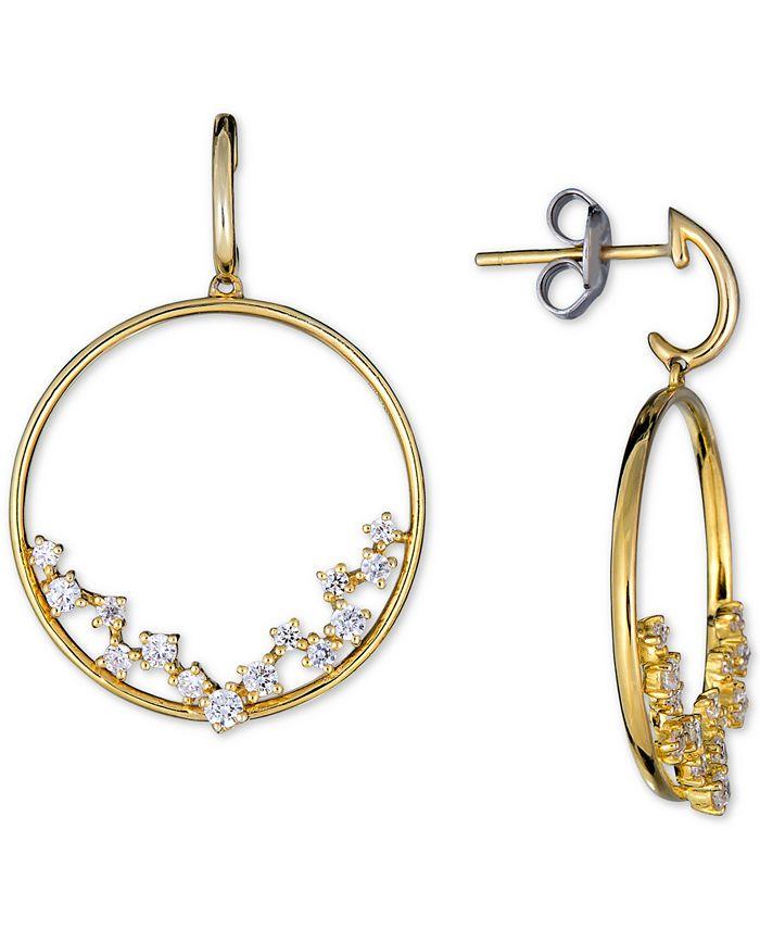 Macy's - Diamond Scatter Drop Hoop Earrings (1/2 ct. t.w.) in 14k Gold
