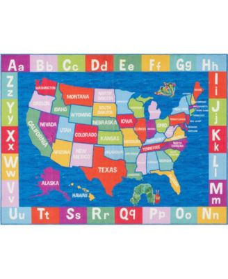 Elementary USA Map Blue 6'6