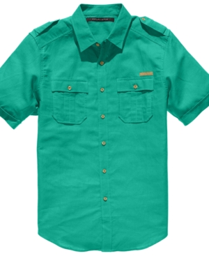 Sean John Shirt Big and Tall Short Sleeve Linen Shirt