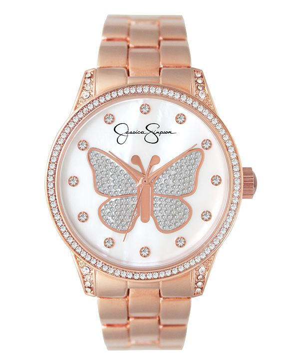 Jessica Simpson Women's Pave Crystal Butterfly Rose Gold Tone Bracelet Watch 36mm