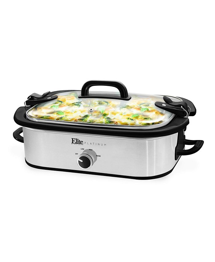 Elite Gourmet - 3.5Qt. Casserole Slow Cooker with Locking Lid, Stainless Steel