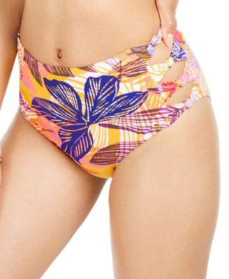 Juniors' Palm Play Printed Side-Knot High-Waist Bikini Bottoms, Created for Macy's