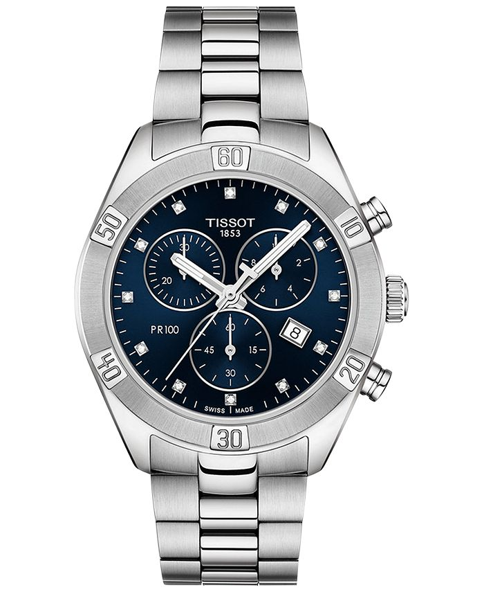 Tissot - Women's Swiss Chronograph T-Classic PR 100 Diamond (1/20 ct. t.w.) Gray Stainless Steel Bracelet Watch 38mm
