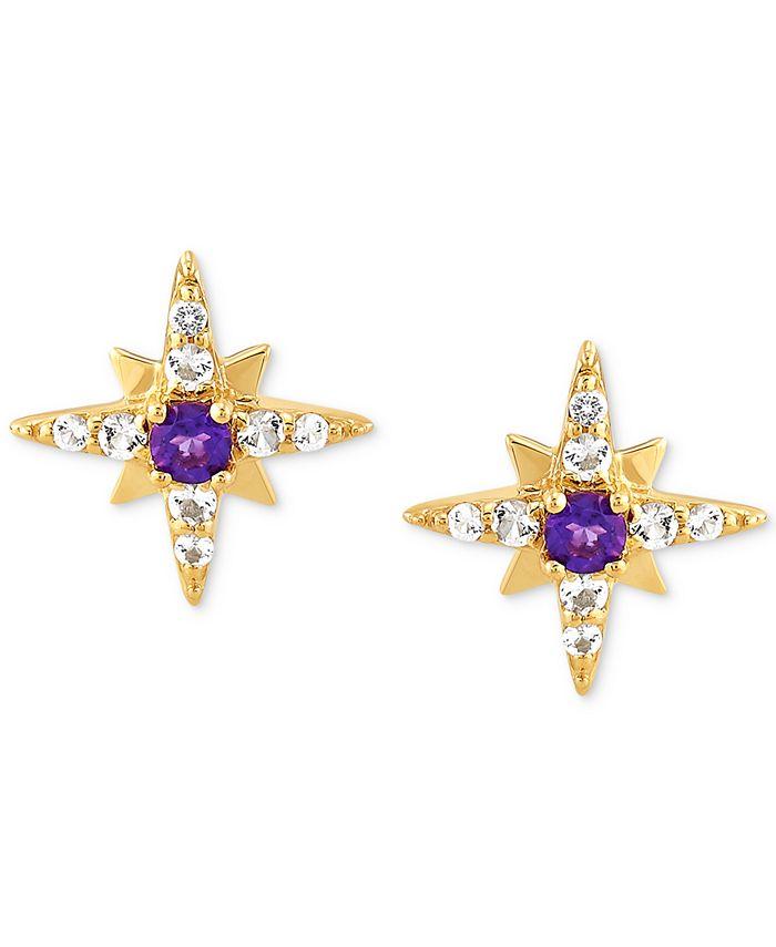 Macy's - Amethyst (1/8 ct. t.w.) & White Topaz (1/4 ct. t.w.) Star Stud Earrings in 14k Gold