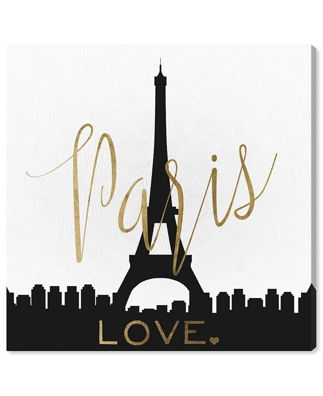 """Oliver Gal Paris Love Gold and Leather Canvas Art, 24"""" x 24"""""""