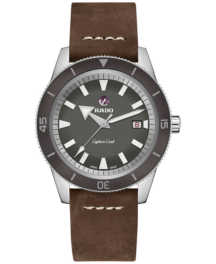 Rado - Men's Swiss Automatic Tradition Brown Leather Strap Watch 42mm