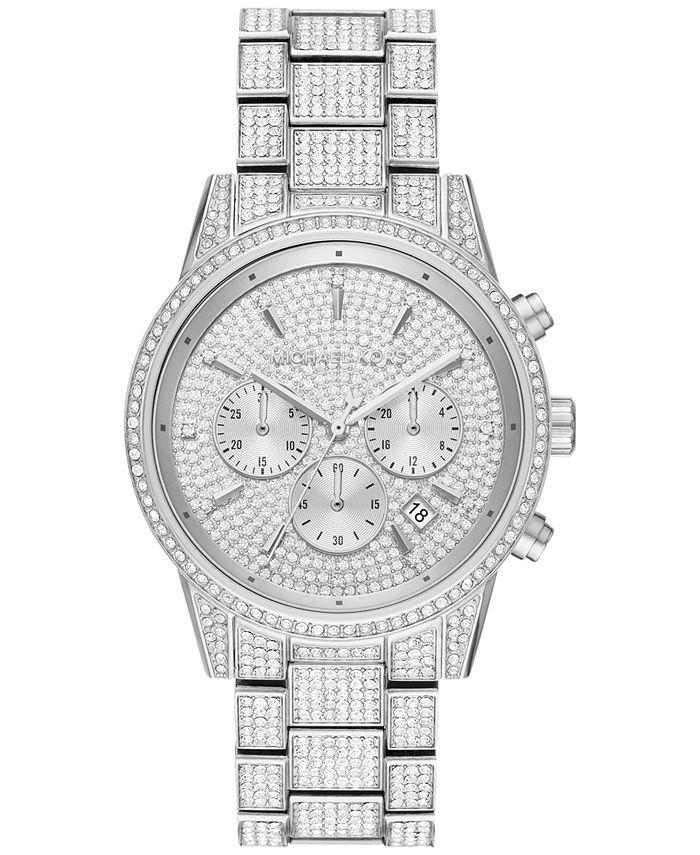 Michael Kors - Women's Chronograph Ritz Stainless Steel Pavé Bracelet Watch 41mm