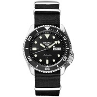 Deals on Seiko Mens Automatic 5 Sports Black Nylon Strap Watch 42.5mm