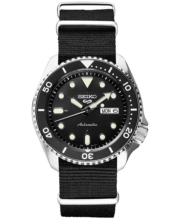 Seiko LIMITED EDITION Men's Automatic 5 Sports Black Nylon Strap Watch 42.5mm, Created for Macy's