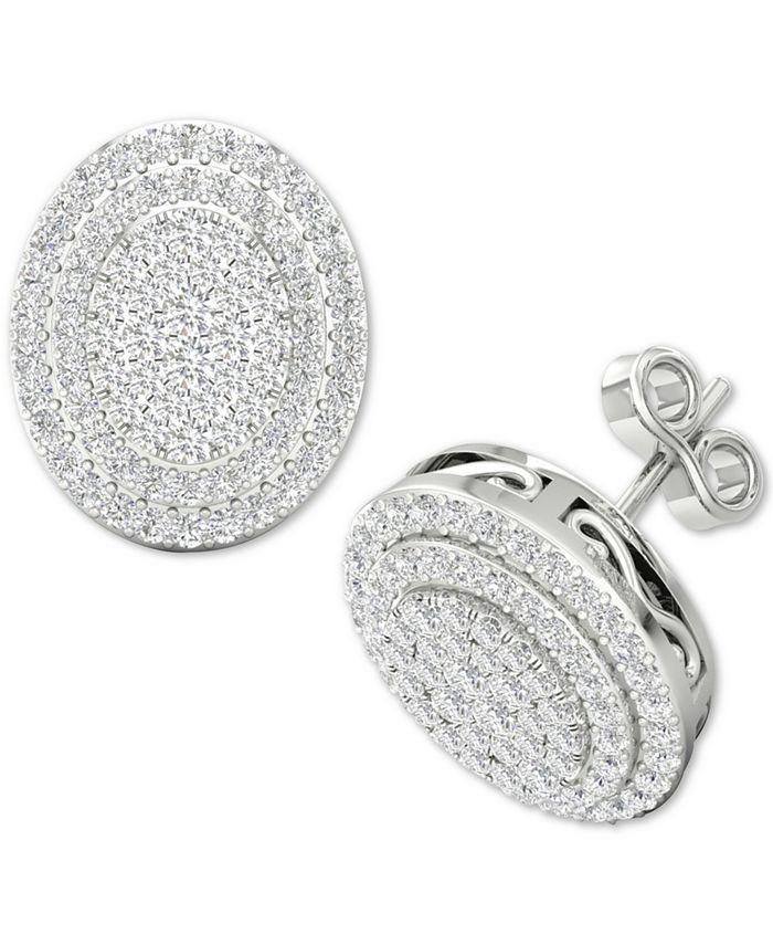 Macy's - Diamond Oval Cluster Stud Earrings (1/2 ct. t.w.) in Sterling Silver