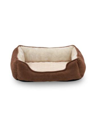 "Orthopedic Rectangle Bolster Pet Bed, 25""x21"" Super Soft Plush Dog Bed"