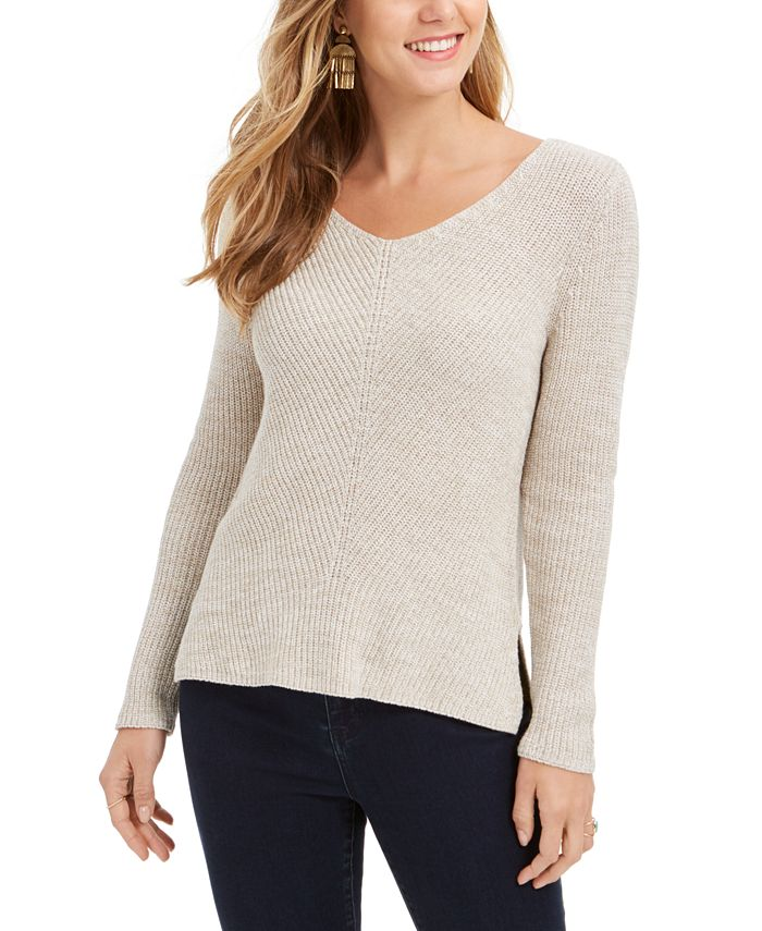 Style & Co - Ribbed V-Neck Cotton Sweater, Created For Macy's