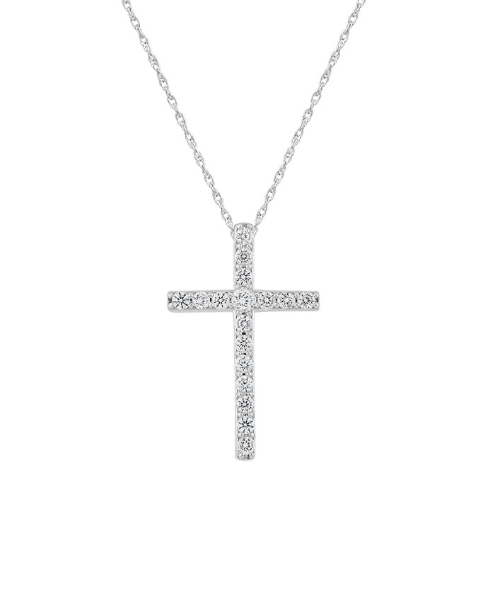 Macy's - 241 WEAR IT BOTH WAYS Diamond (½ ct. t.w.) Cross Pendant Necklace in 14k White or Yellow Gold
