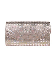 La Regale Edwardian Crystal Lattice Flap Clutch - Large