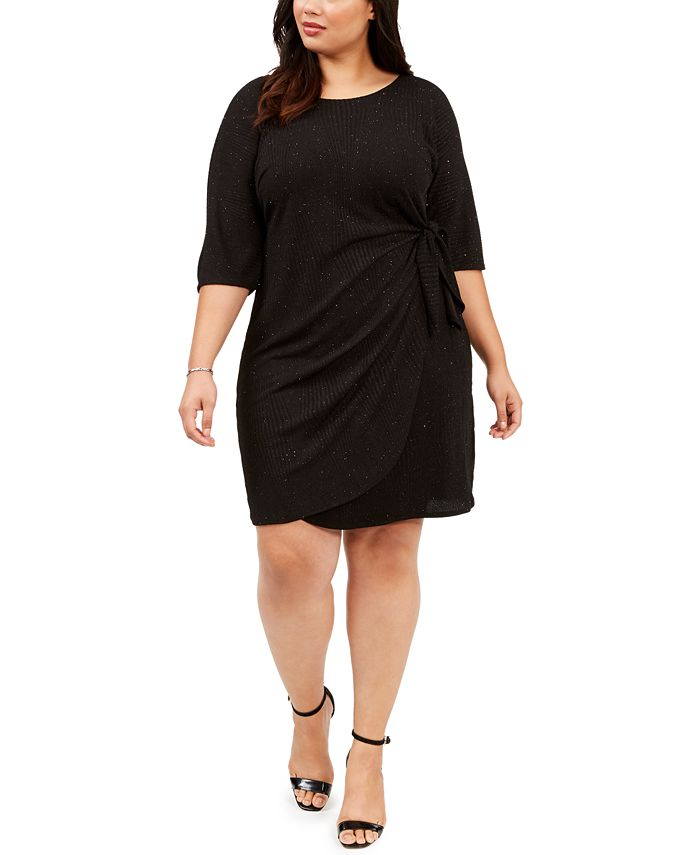 Robbie Bee - Plus Size Glitter Knit Sarong Dress