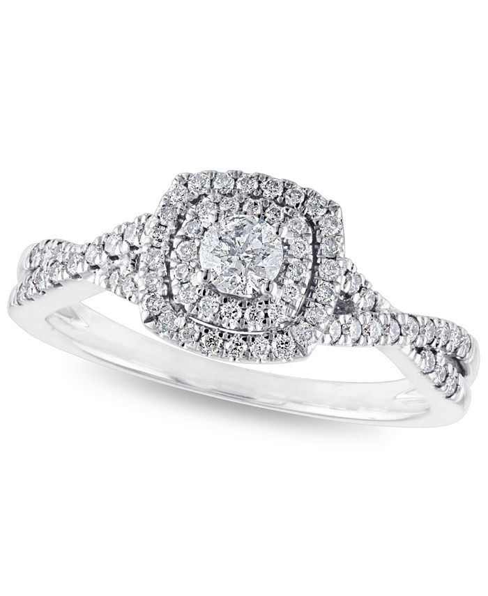 Macy's - Certified Diamond 3/8 ct. t.w. Halo Engagement Ring in 14k White Gold
