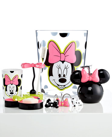 Disney Bath Accessories Neon Minnie Trash Can Bathroom