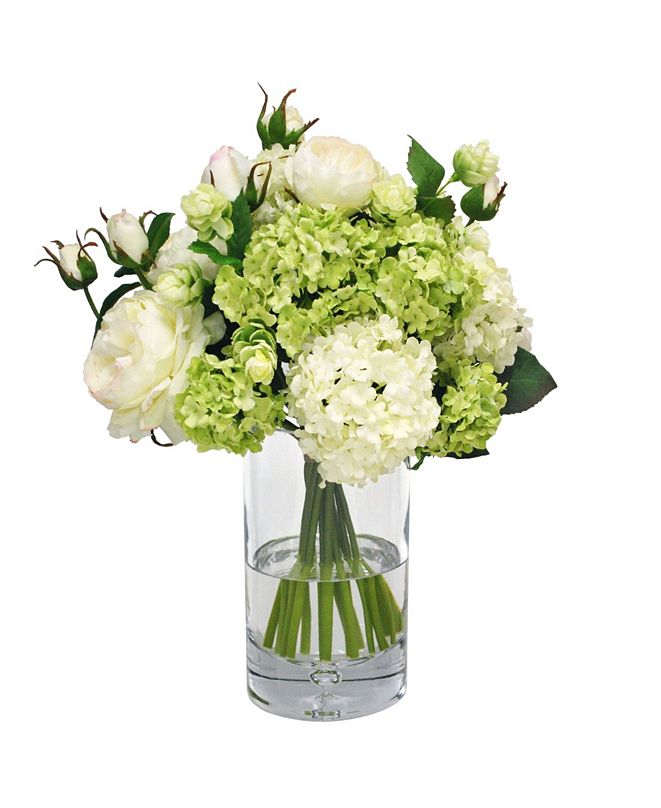 Winward Silks Permanent Botanicals Rose and Snowball in Cylinder Glass