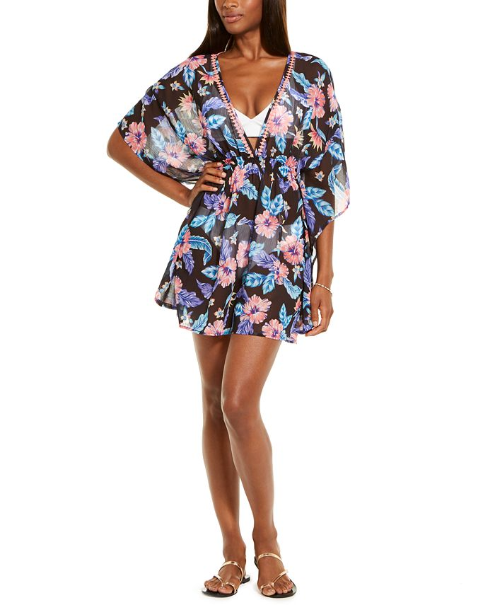 Miken - Juniors' Tropical Print Smocked Waist Cover-Up