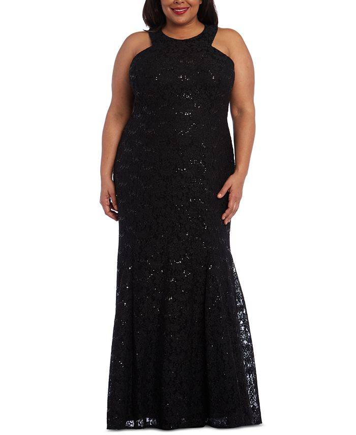 Morgan & Company - Trendy Plus Size Allover-Lace Gown