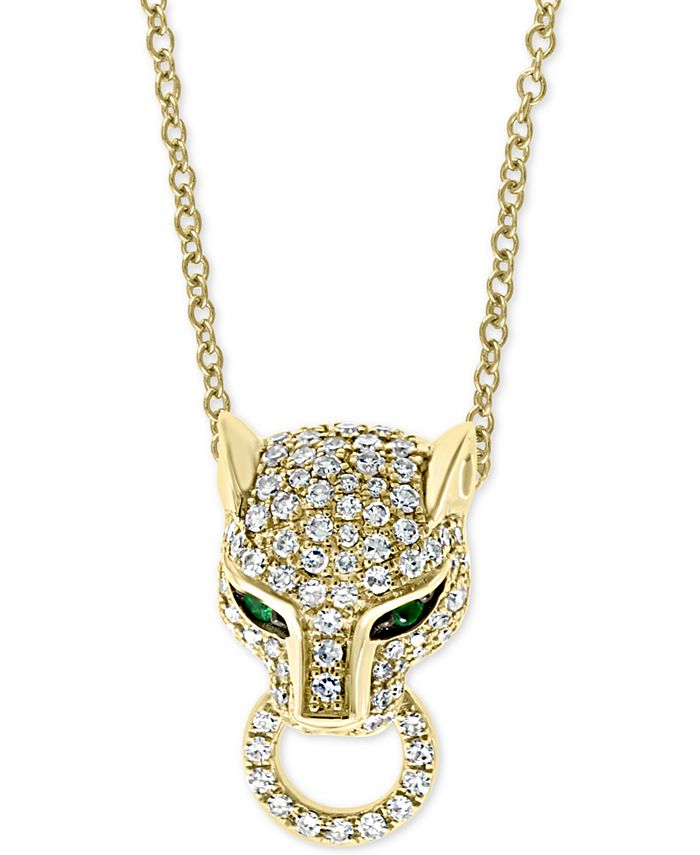 """EFFY Collection - Diamond (3/8 ct. t.w.) & Emerald (1/20 ct. t.w.) Panther 18"""" Pendant Necklace in 14k Gold"""
