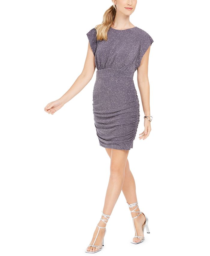 Vince Camuto - Ruched Glitter-Knit Bodycon Dress