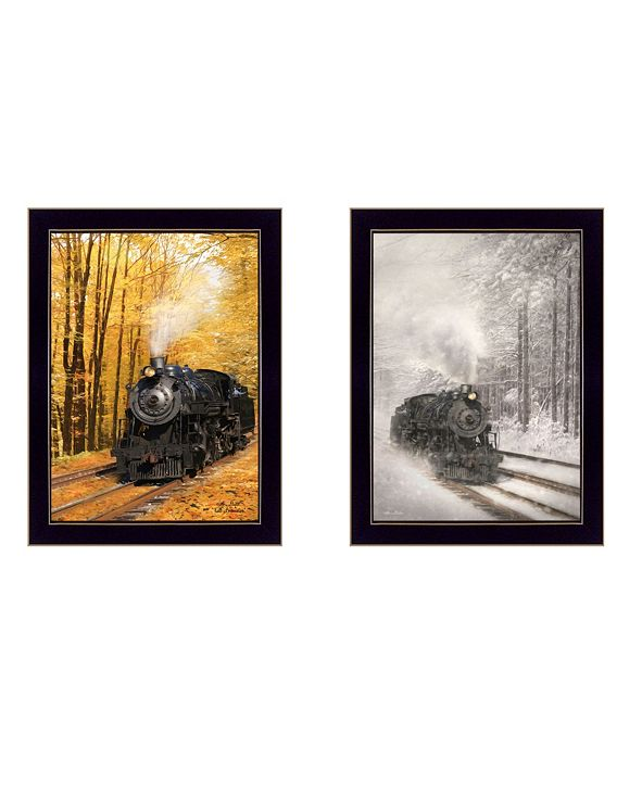 "Trendy Decor 4U Vintage-Like Locomotives Collection By Lori Deiter, Printed Wall Art, Ready to hang, Black Frame, 14"" x 20"""