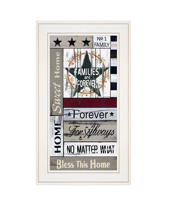 "Trendy Decor 4U Families are Forever by Linda Spivey, Ready to hang Framed print, White Frame, 12"" x 21"""