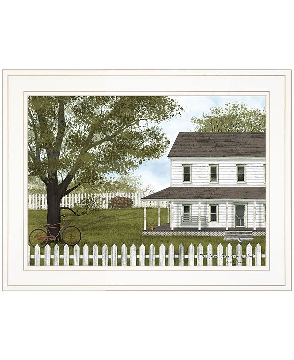 """Trendy Decor 4U GREEN, GREEN GRASS OF HOME by Billy Jacobs, Ready to hang Framed Print, White Frame, 19"""" x 15"""""""
